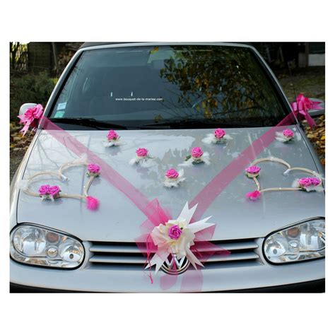 Decoration Mariage Voiture by D 233 Coration Voiture Mariage Coeurs Tulle Ruban Fuchsia