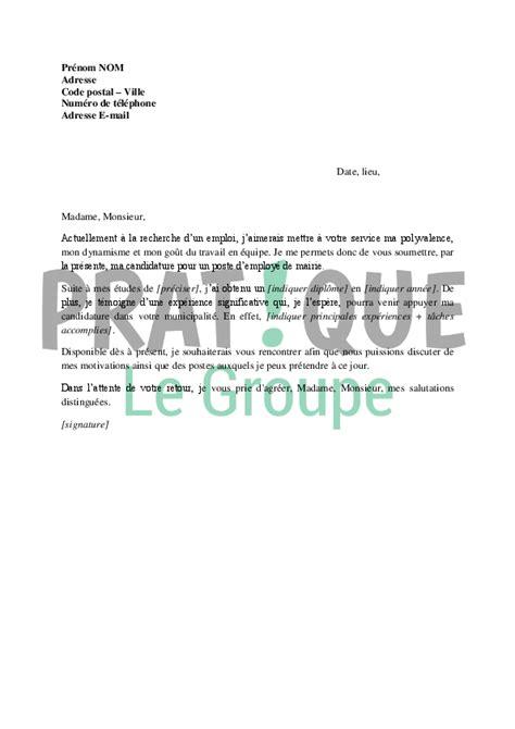 Exemple De La Lettre De Motivation Demande D Emploi modele lettre de motivation pour la mairie document
