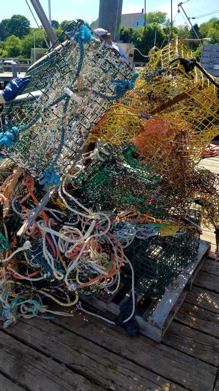 boat trash with maine lobster more than 4 000 pounds of trash broken gear hauled off