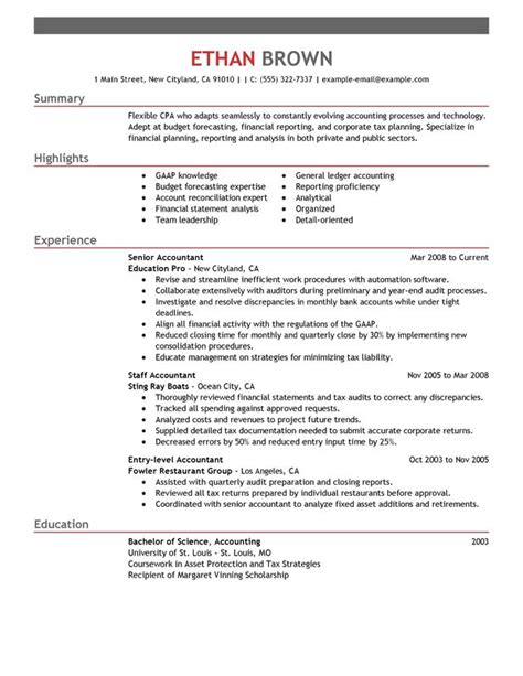 accounting resume template accountant resume sle my resume