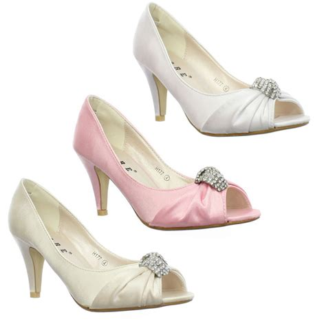 Bridesmaid Shoes by Womens Low Heel Peep Toe Diamante Brooch Wedding