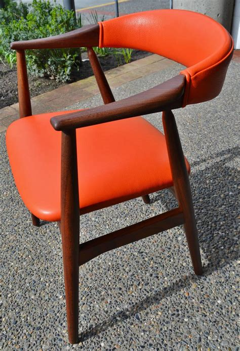 Orange Leather Desk Chair by Orange Leather Kristiansen Curved Back Desk Or Side