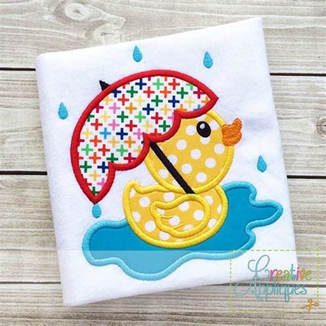 embroidery applique design rubber duck umbrella applique creative appliques