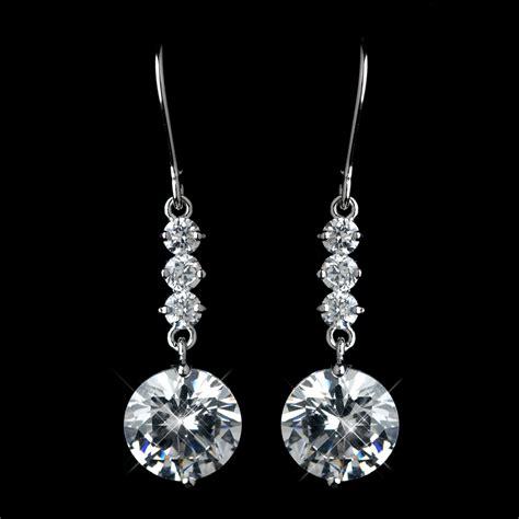 silver clear cz drop earrings 40671