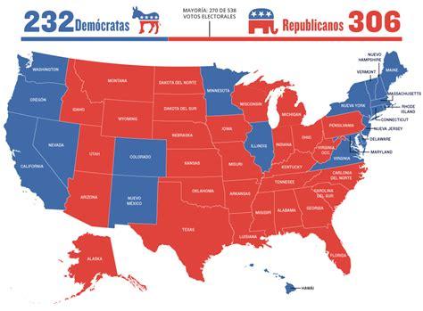 mapaor de elecciones usa 2016 el mapa de ee uu con los resultados en todos los estados