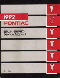 how to download repair manuals 1991 pontiac sunbird interior lighting 1992 pontiac sunbird factory service manual