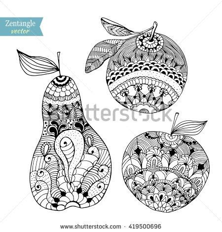 fruit zentangle die besten 25 fruits drawing ideen auf