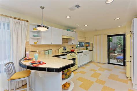 retro kitchen flooring midcentury modern kitchen photos hgtv