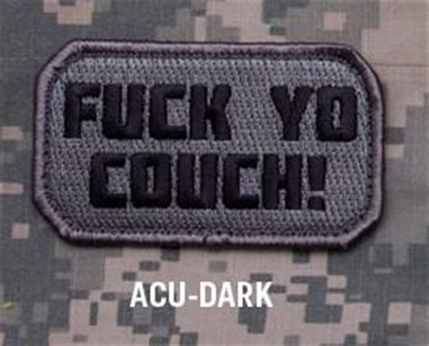 fuck yo couch patch f yo couch acu dark tactical combat badge morale