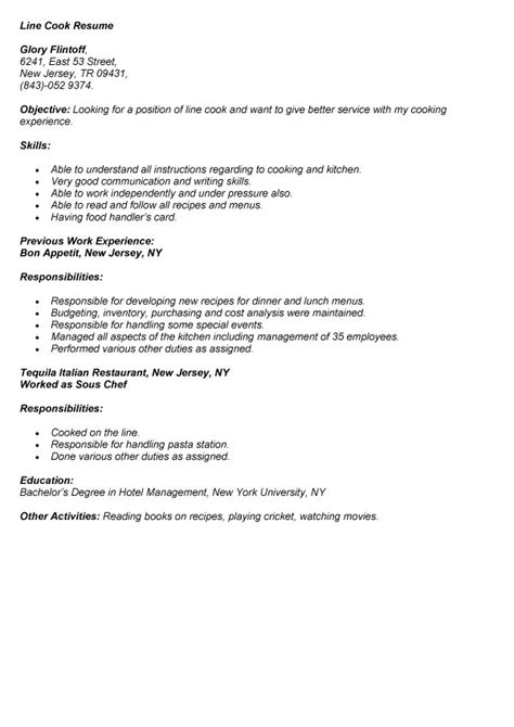 Cook Description For Resume prep cook resume description sle lead cook
