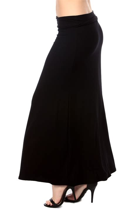 black fit and flare maxi skirt