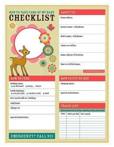 nanny to do list template baby checklist printable pdf baby