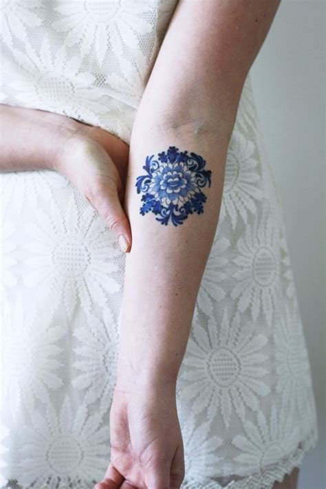 blue henna tattoo delfts blue flower temporary tattoos by