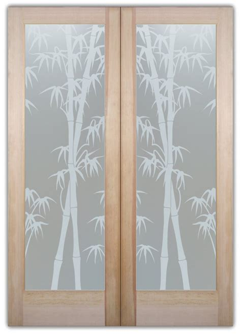 Etched Glass Interior Doors Bamboo Shoots Interior Etched Glass Doors Asian Design