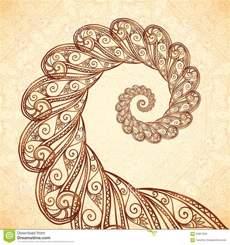 henna tattoo vector vector fractal spiral in henna style stock vector