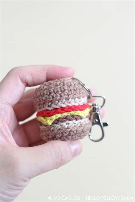 amigurumi hamburger pattern free cheeseburger keychain free crochet pattern tutorial