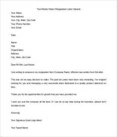 Two Week Notice Template Word by Two Weeks Notice Letter 31 Free Word Pdf Documents
