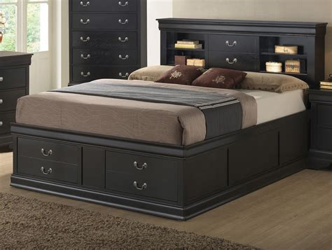 queen storage bed with bookcase headboard also bedroom