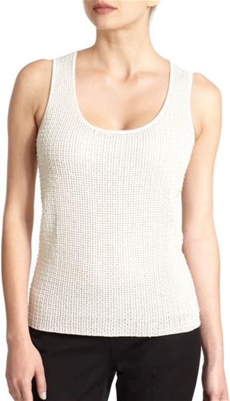 Josie White Knit josie natori sequin sweater tank top in white lyst