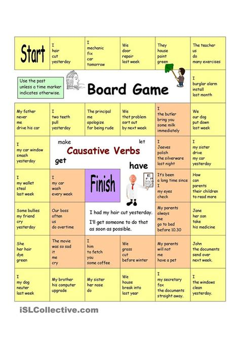 printable grammar card games board game causative verbs have something done
