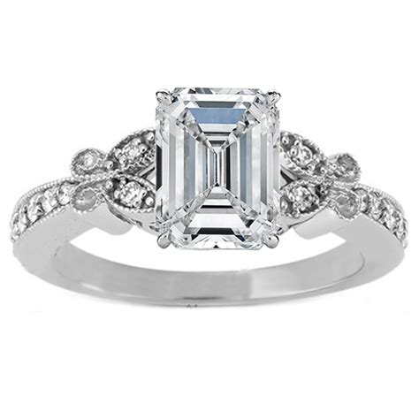 engagement ring emerald cut butterfly vintage
