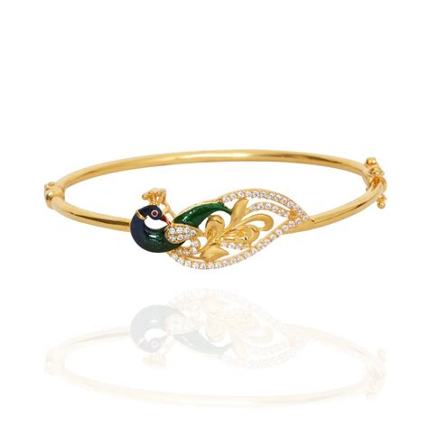 Oriana   The Light Weight Jewellery   Stone Studded Mayur Peacock Gold Bracelet   GRT Jewellers