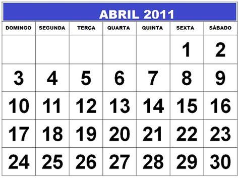 Abril Calendario Calend 193 Abril 2011 Feriados E Datas Comemorativas Digitei