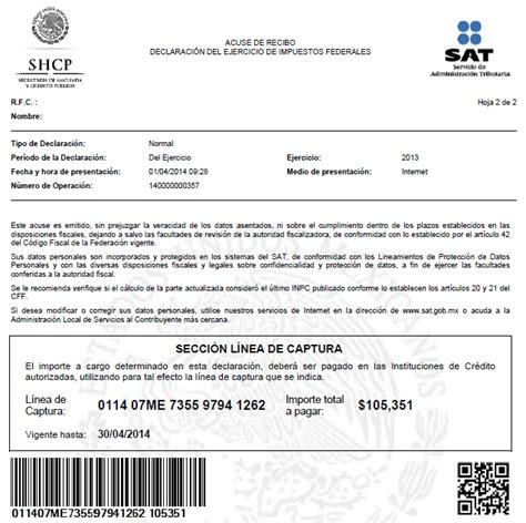 01 acuse de recibo de la declaracin l 237 nea de captura declaraci 243 n 2013 los impuestos