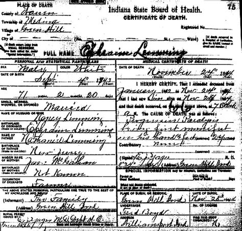 Indiana State Library Marriage Records Warren County Indiana Documents