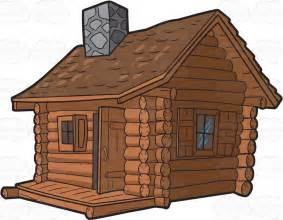 a log cabin with chimney clipart vector