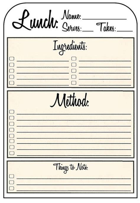 recipe template printable recipe binder templates images