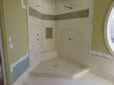 How To Tile A Bathroom Shower Wall Part Quot 5 Quot How To Install Travertine Tiles On Shower Walls Curb Tile Installation