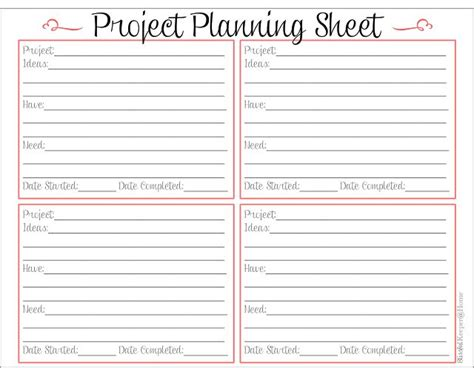 printable project planner free 5 best images of printable project planner template free