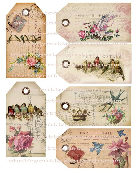gift tags vintage clipart finders instant digital tags u print floral and bird postcard