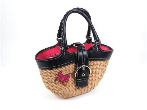 Coach Mini F59810 Black Butterfly coach 6270 butterfly black pink leather straw basket weave bag purse ebay