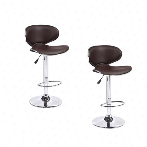 Leather Swivel Dining Chairs Bn Set Of 2 Adjustable Bar Stools Leather Hydraulic Swivel Dining Chair Brown Ebay