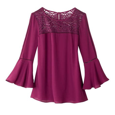 Lace Bell Sleeve Blouse make up the tomboy lace trim bell sleeve blouse from