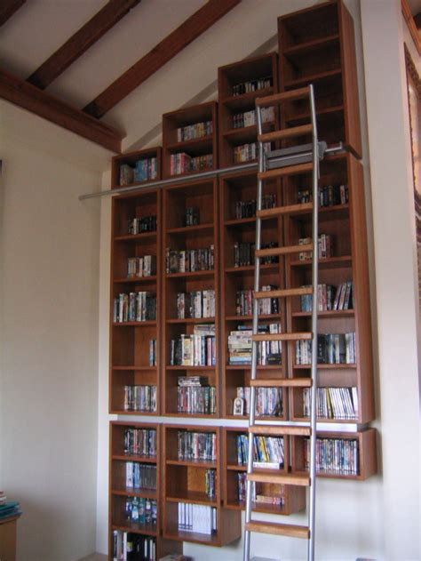 library bookcase with sliding ladder stonermakes