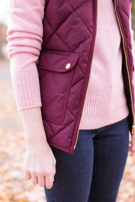 burgundy jcrew excursion quilted vest poor   girl
