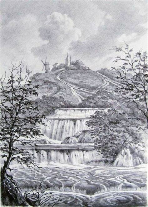 Landscape Drawing Drawing Landscape With Waterfall Author Oleg Kulagin
