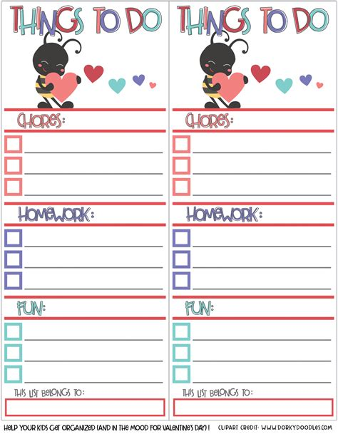Printable To Do List For Students | how to encourage kids to do their homework free printable