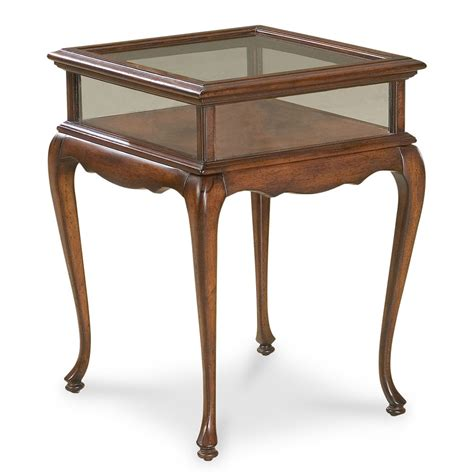 Chelmsford Curio Table Glass Top Display Table Cherry