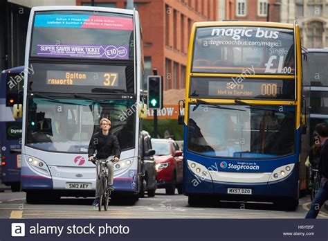 magic bus light manchester cyclist stopped at lights bike first stagecoach