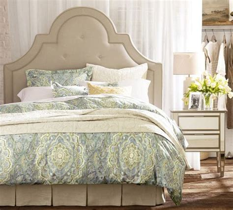pottery barn tufted headboard our headboards high arching curves are defined by piping
