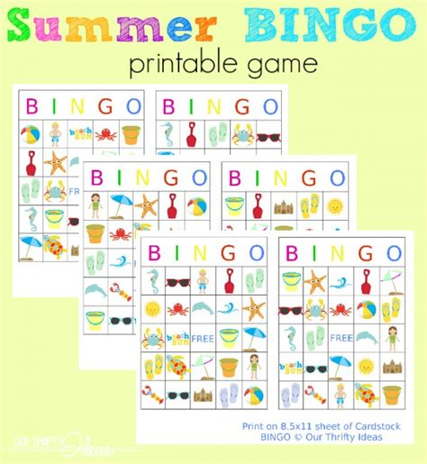 printable games for summer summer bingo printables design dazzle