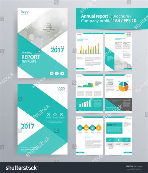 Annual Reports Templates For Companies Page Layout Company Profile Annual Report Stock Vector
