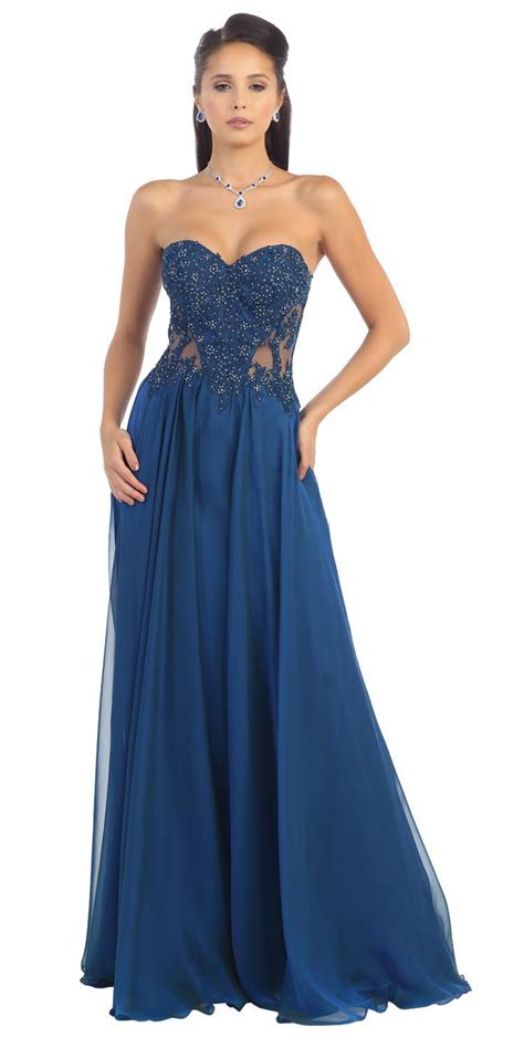 royal blue sweetheart neckline long dress sexy prom