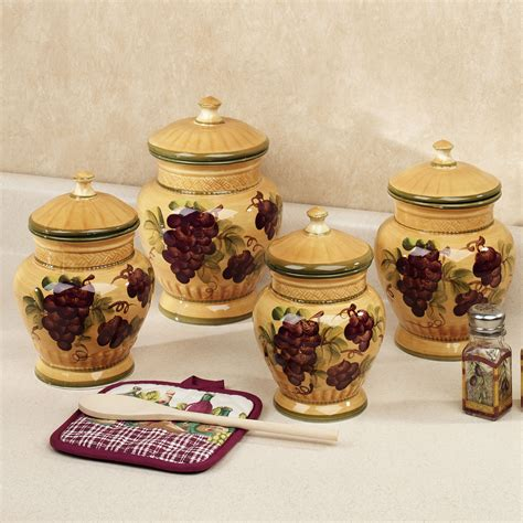 kitchen canisters ceramic sets handpainted grapes kitchen canister set canisters