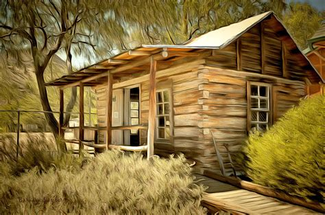 Kernville Cabins by Kern River Miners Cabin Painting By Barbara Snyder