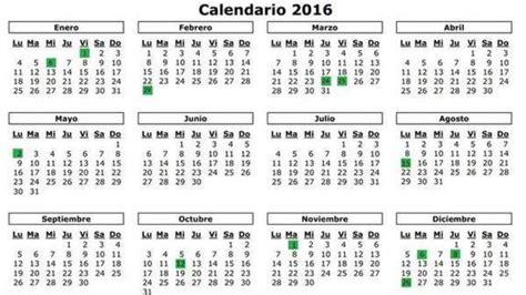 Calendario Laboral 2016 Calendario Laboral 2016 Fechas Festividades Semana